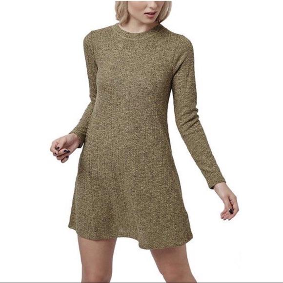 db22da1f0b Topshop Tan Brown Ribbed Knit Sweater Dress. M 5b1883fc03087cb4fabcce87